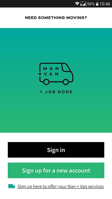 Man and van app home screen