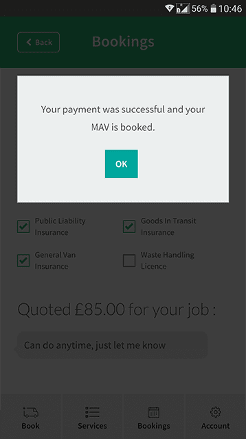 Man van success payment