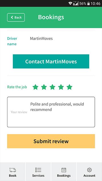 Man van app rate driver